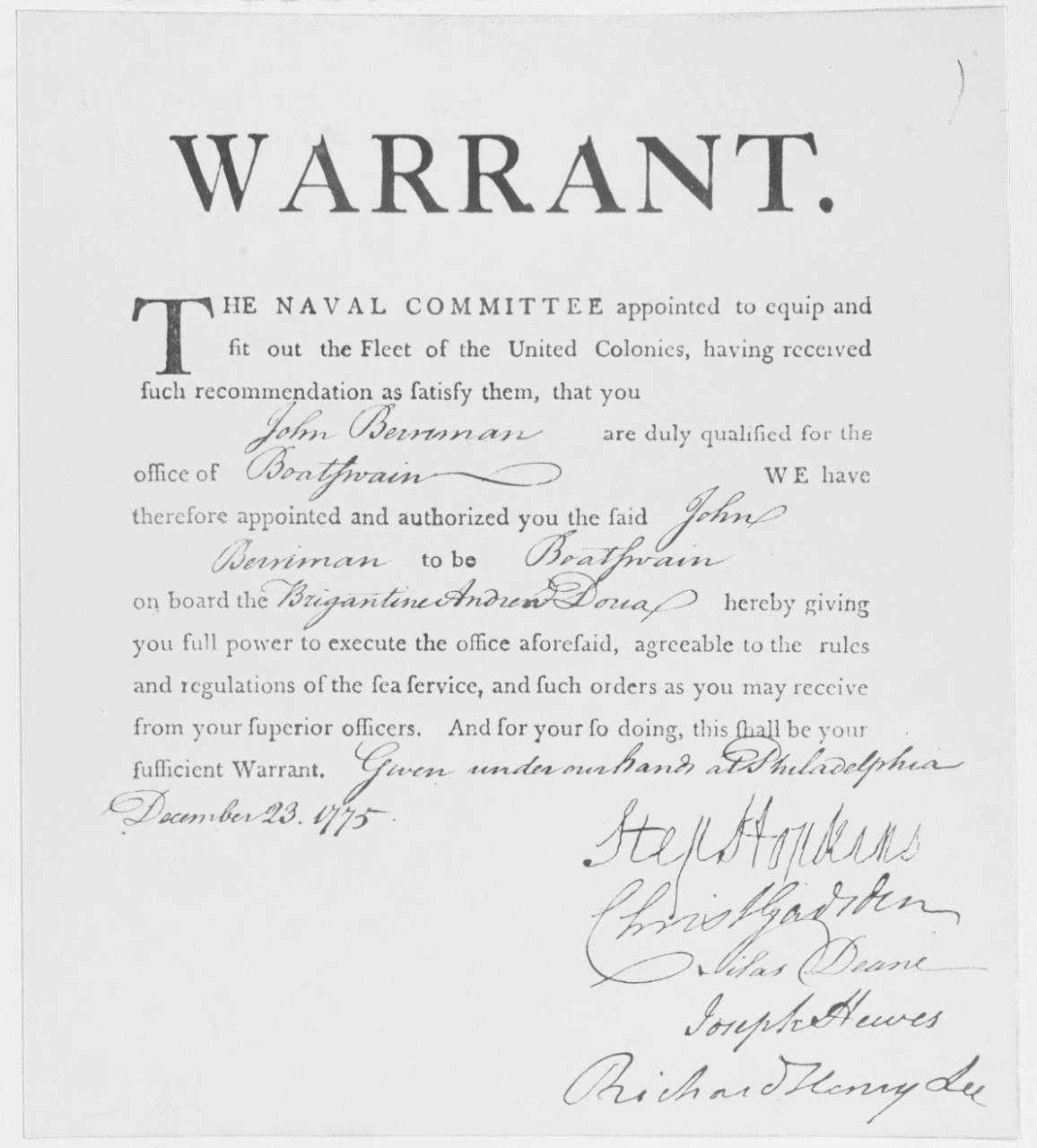 First CWO Warrant